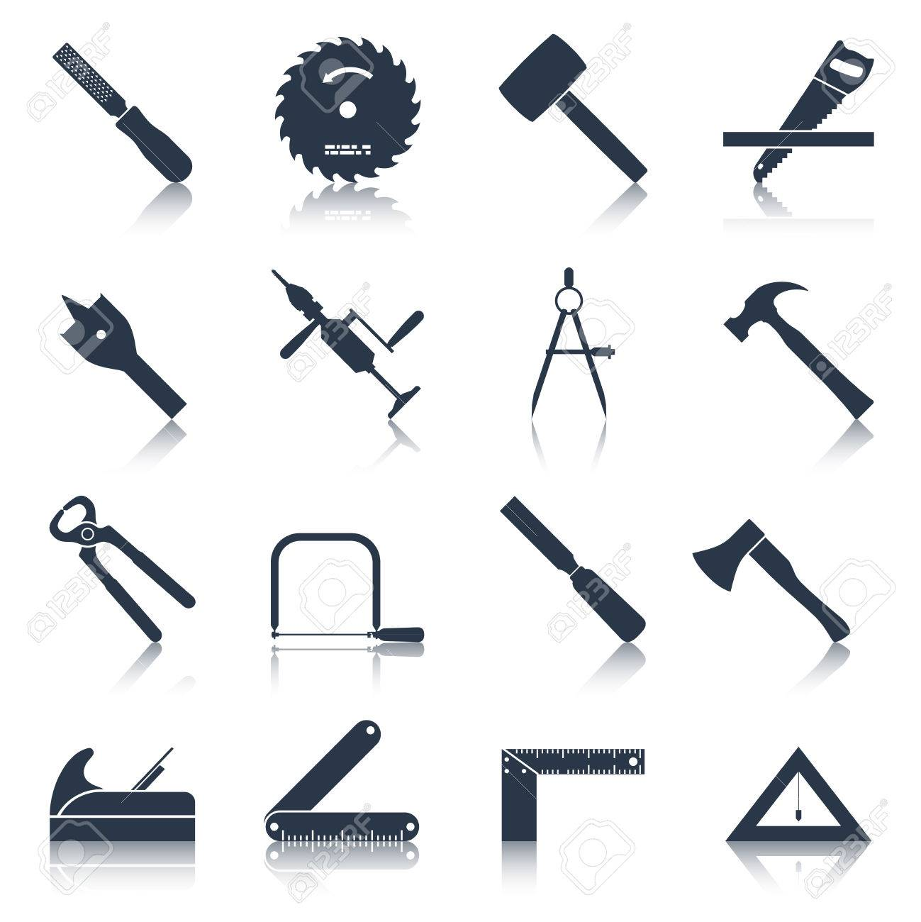 Carpentry Wood Work Tools And Equipment Black Icons Set Isolated