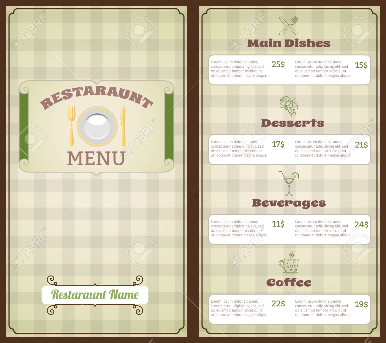 restaurant menu list template with main dishes desserts beverages