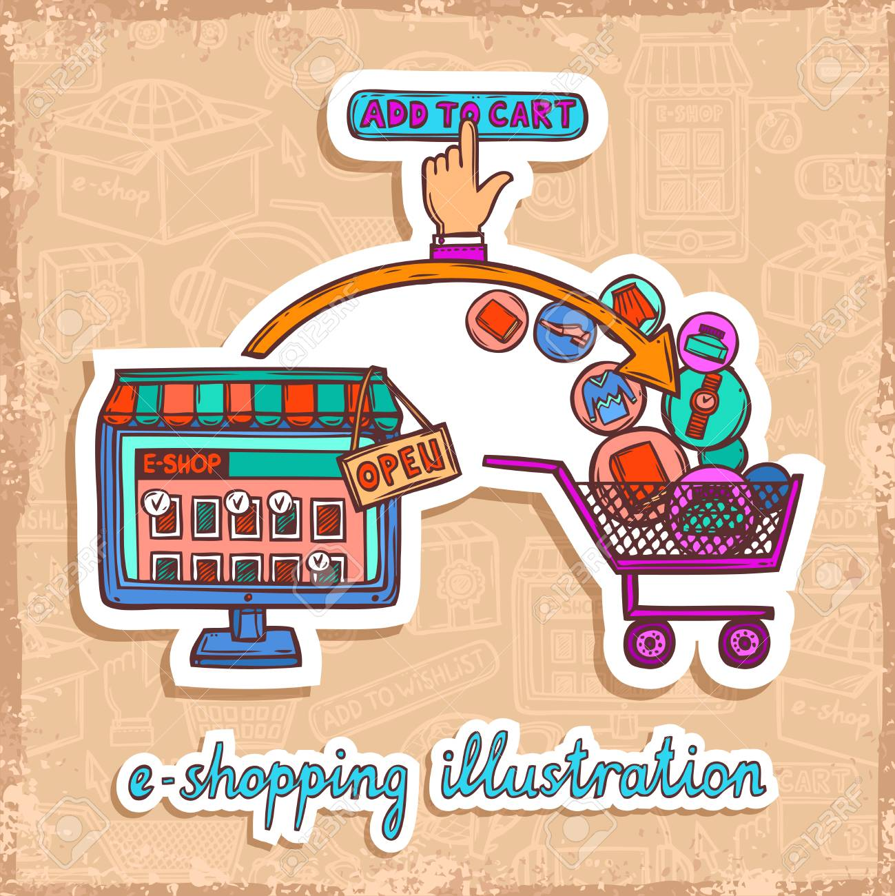Internet Shopping E-commerce Online Email Purchase Sketch Design ...