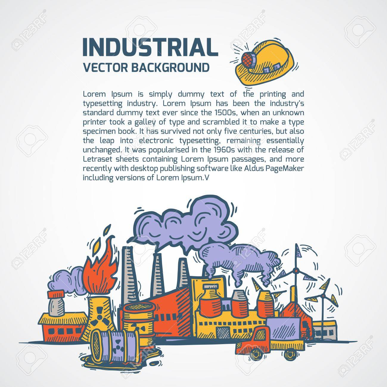 Industrial Colored Sketch Background Template Set With Factory ...