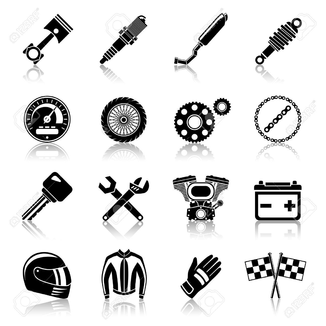 オートバイ部品の黒いアイコン ヘルメット スパナ タイヤ分離ベクトル