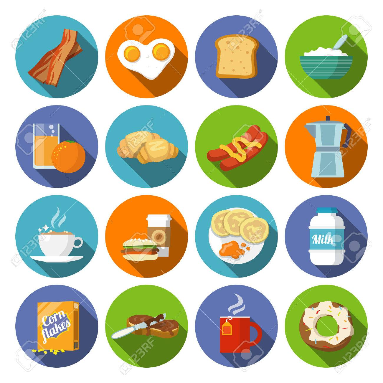 Breakfast fresh food and drinks flat icons set with coffee donut fruit juice tea cup isolated vector illustration - 33844615