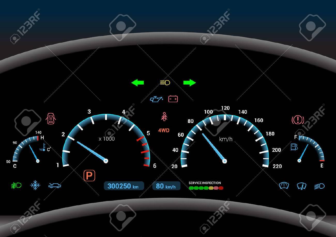 Car dashboard modern automobile control illuminated panel speed display vector illustration - 33844768