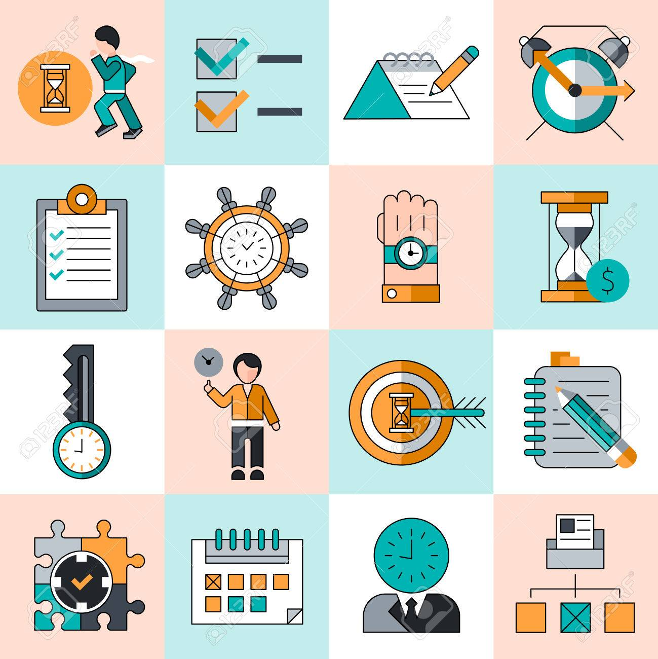 time management work productivity successful manager flat line time management work productivity successful manager flat line icons set isolated vector illustration stock vector