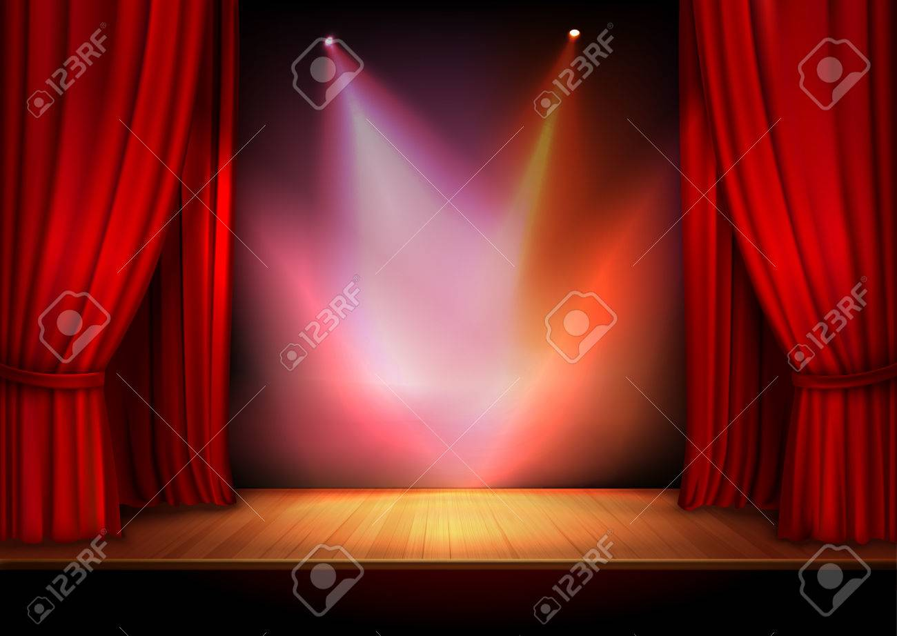 Red stage curtain with lights - Red Stage Open Theater Velvet Curtain With Lights Spots Vector Illustration Stock Vector 33846262