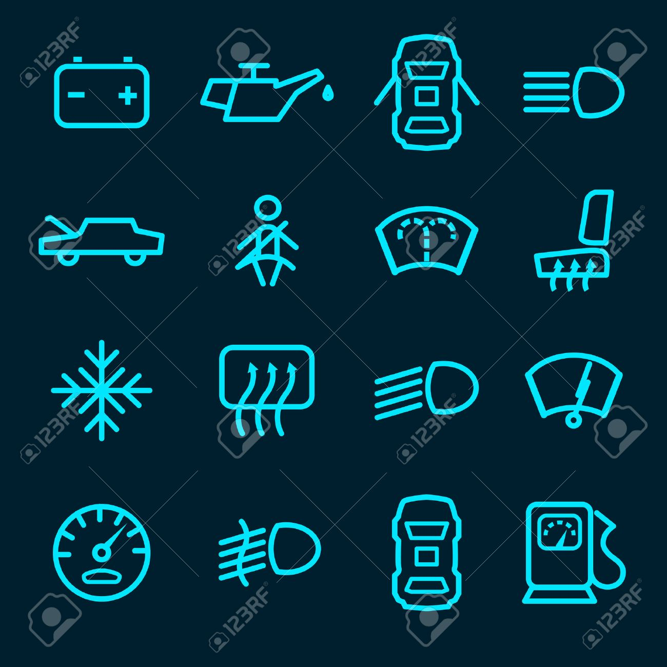 Car Dashboard Icons Set With Warning Lights Fuel Door Seat Symbols - Car image sign of dashboarddashboard warning lights stock images royaltyfree images