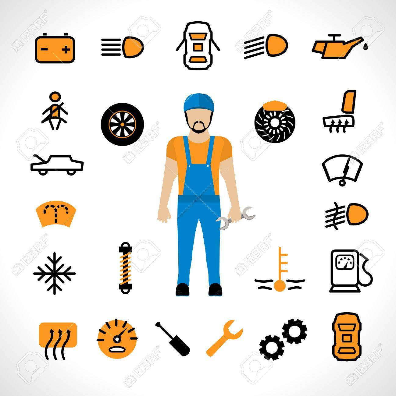 Car Dashboard Icons With Auto Mechanic Repair Set Isolated Vector - Car image sign of dashboardcar dashboard icons stock images royaltyfree imagesvectors