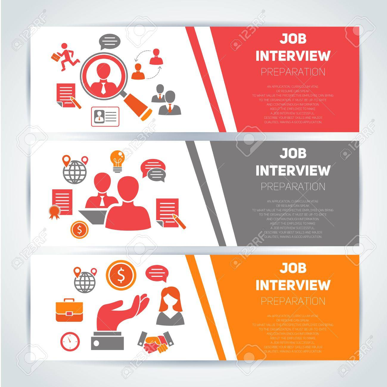 job interview preparation flat banner horizontal set search job interview preparation flat banner horizontal set search recruitment worker isolated vector illustration stock vector