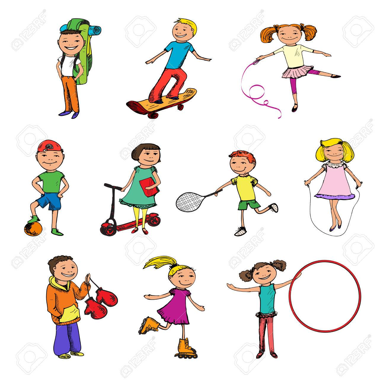 Children Boys And Girls With Ball Tennis Racquet Jumping Rope Sports Colored Sketch Characters Set Isolated