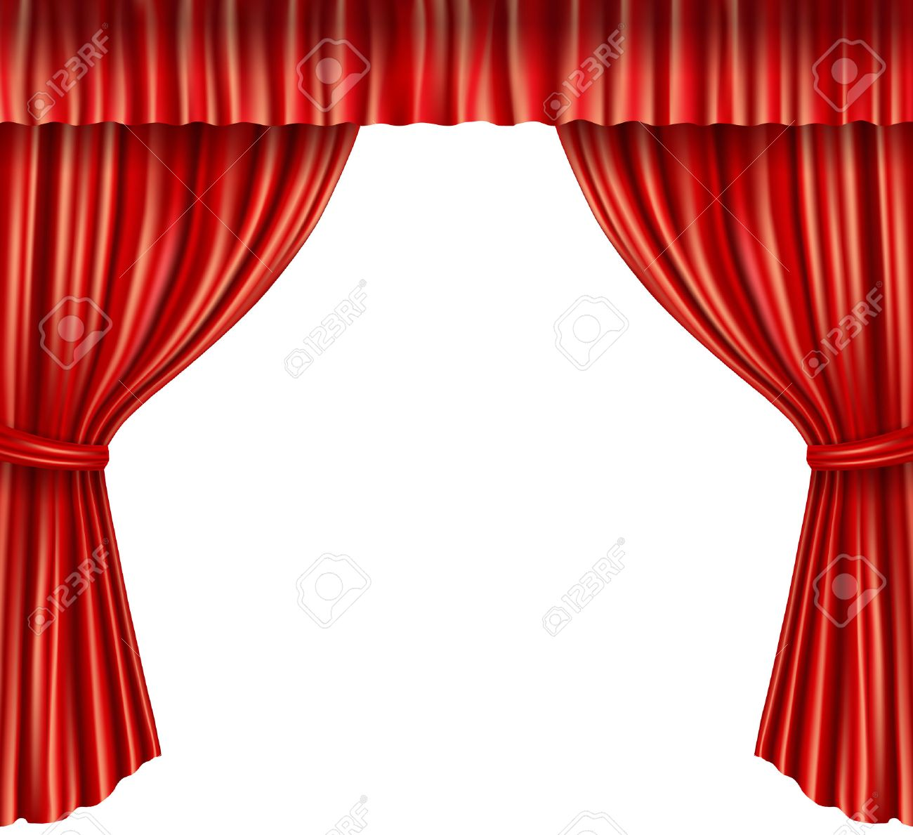 Red velvet curtains stage - Theater Stage Red Velvet Open Retro Style Curtain Isolated On White Background Vector Illustration Stock Vector