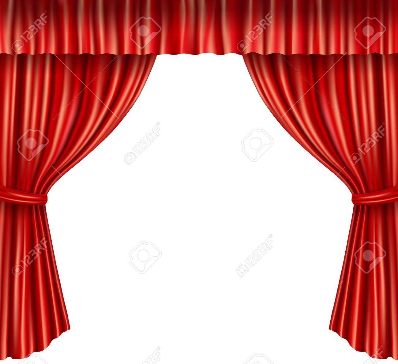 Scène De Théâtre Velours Rouge Ouverte Rideau De Style Rétro Isolé