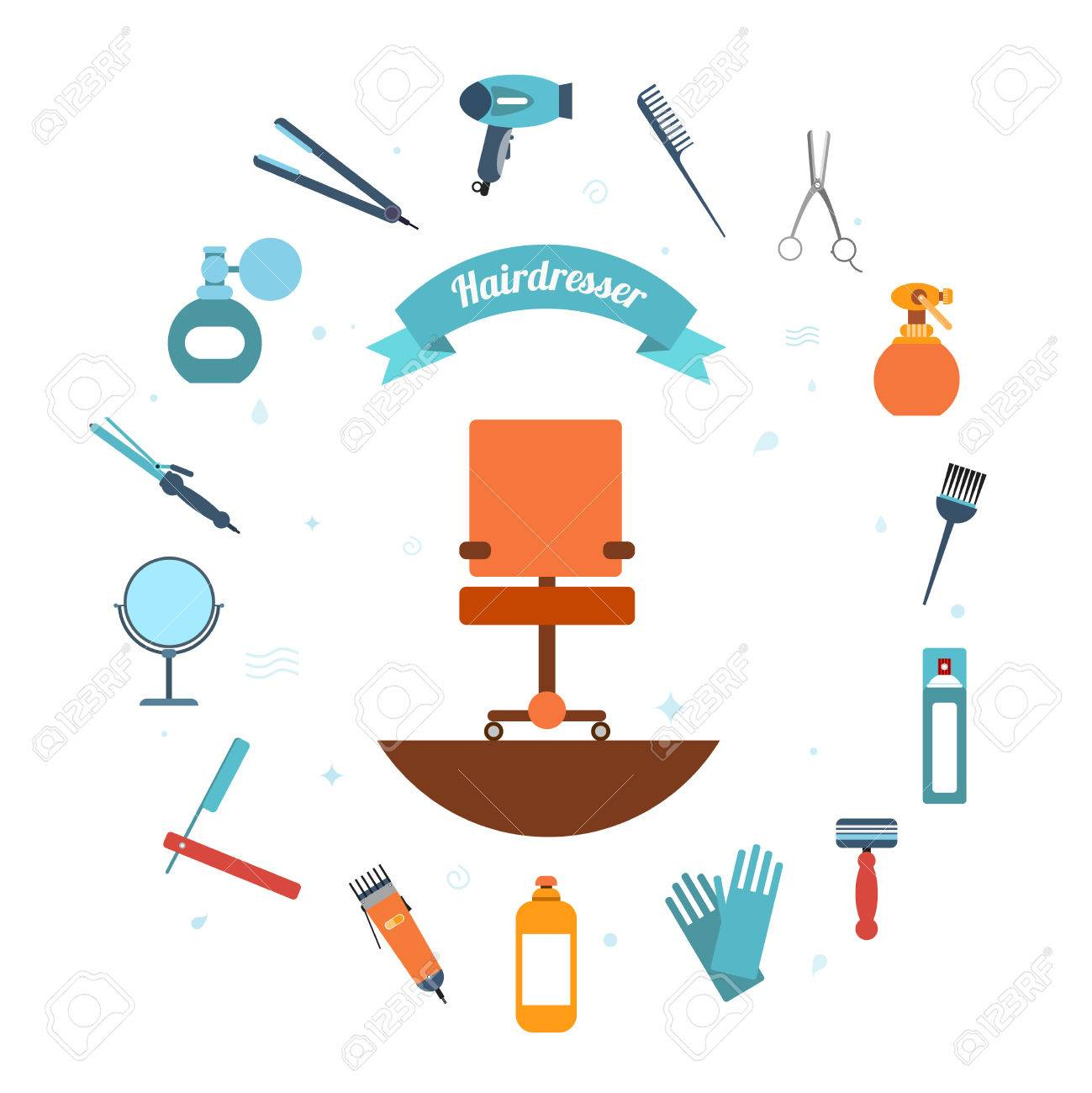 Hairdresser Decorative Set With Beauty Haircut Accessories And Royalty Free Cliparts Vectors And Stock Illustration Image 33848704