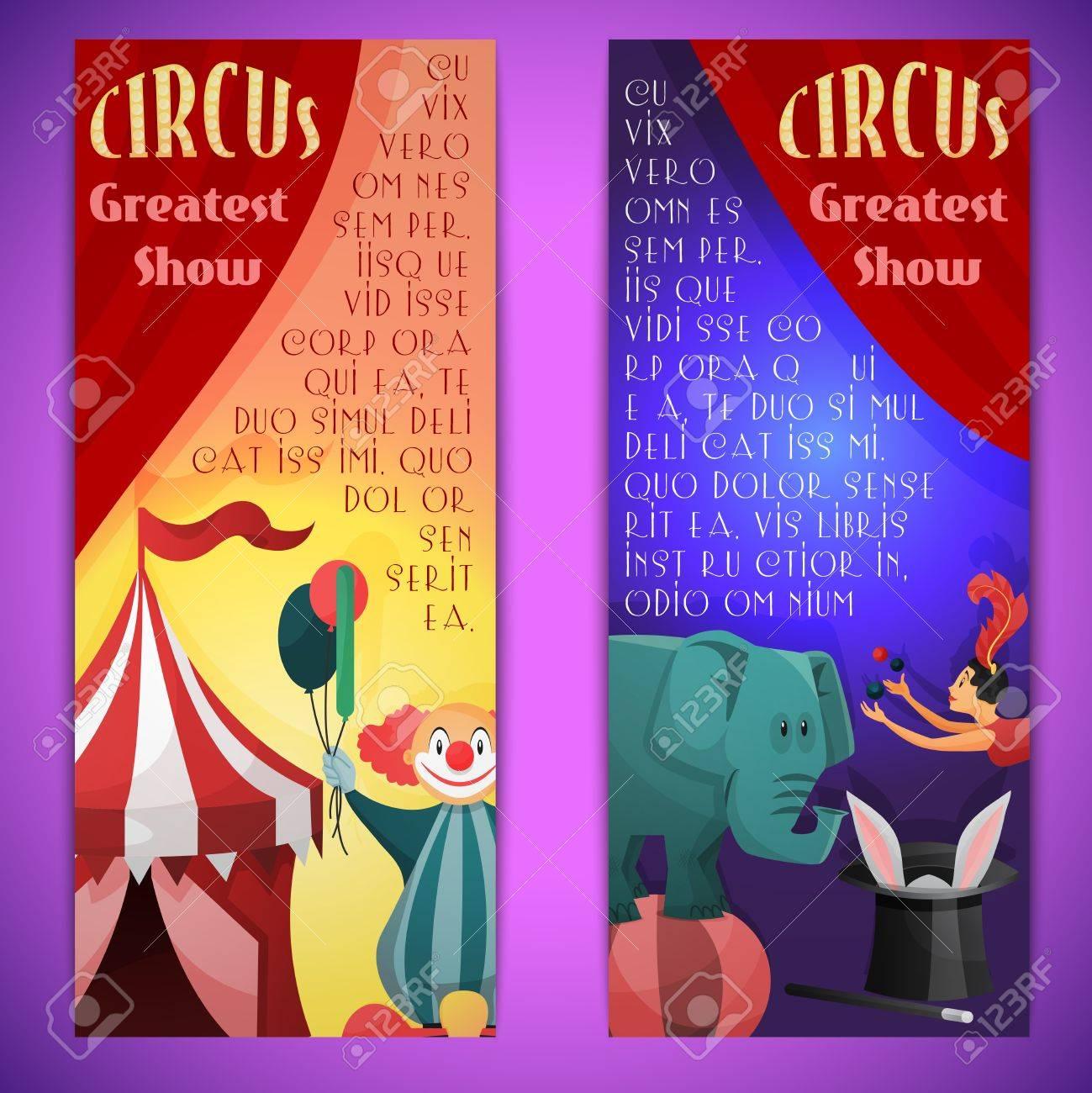 Cirque Plus Grand Spectacle Banniere Verticale Definir Avec Les