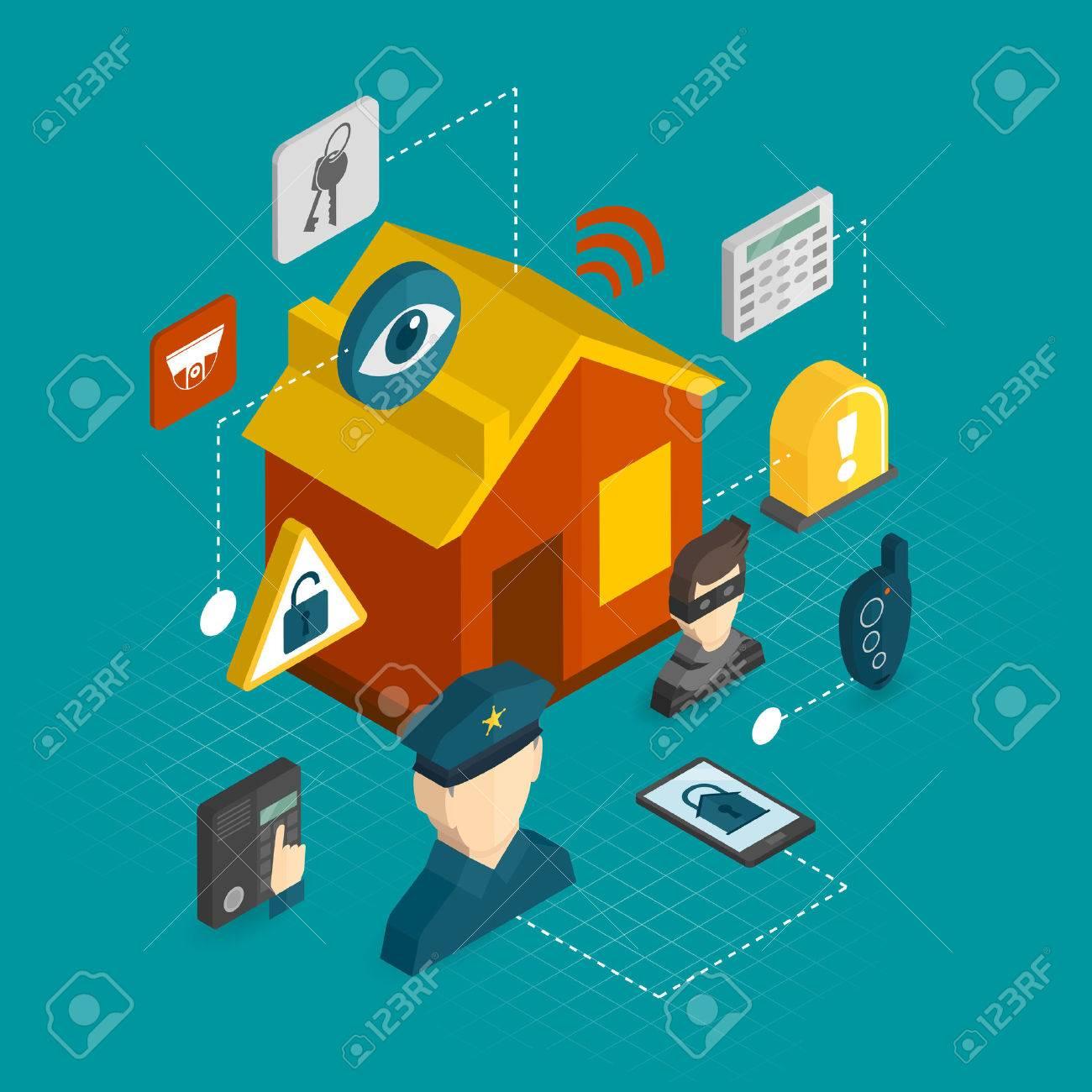 スマートハウス泥棒ガード警報システム概念ベクトル イラスト ホーム