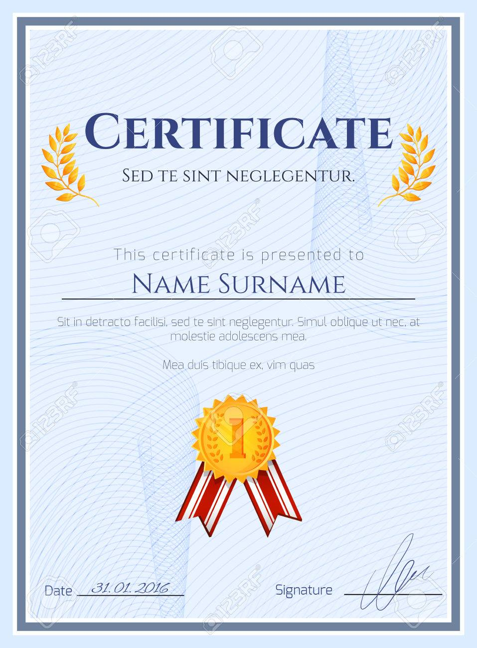 Winner Certificate Diploma Template With Seal Award Decoration ...