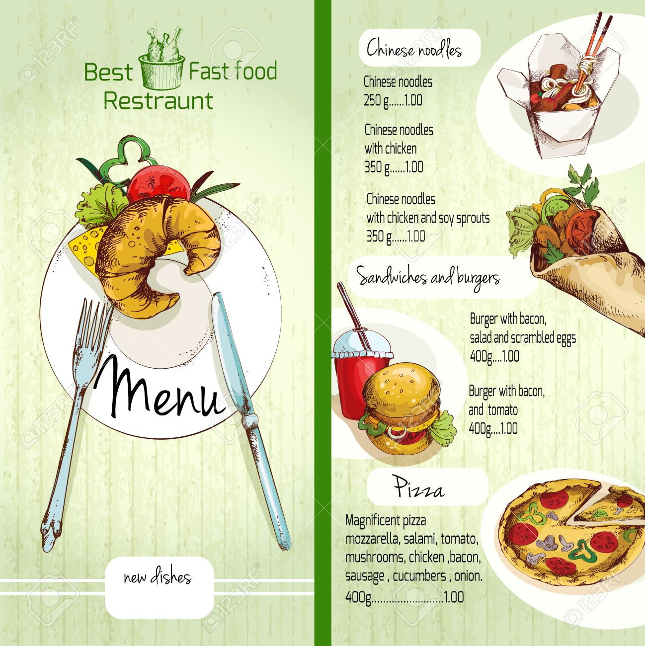fast food restaurant menu list with noodles burgers pizza vector