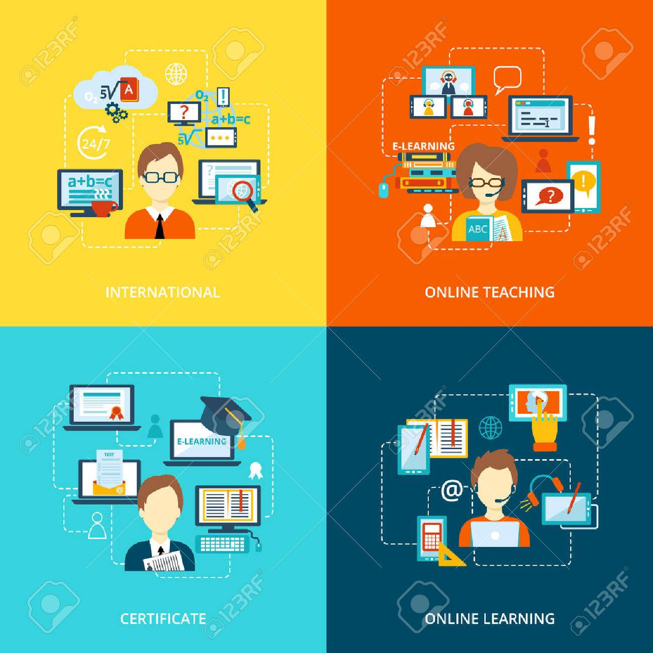 E-learning flat icons set with international online teaching certificate learning vector illustration - 34247498