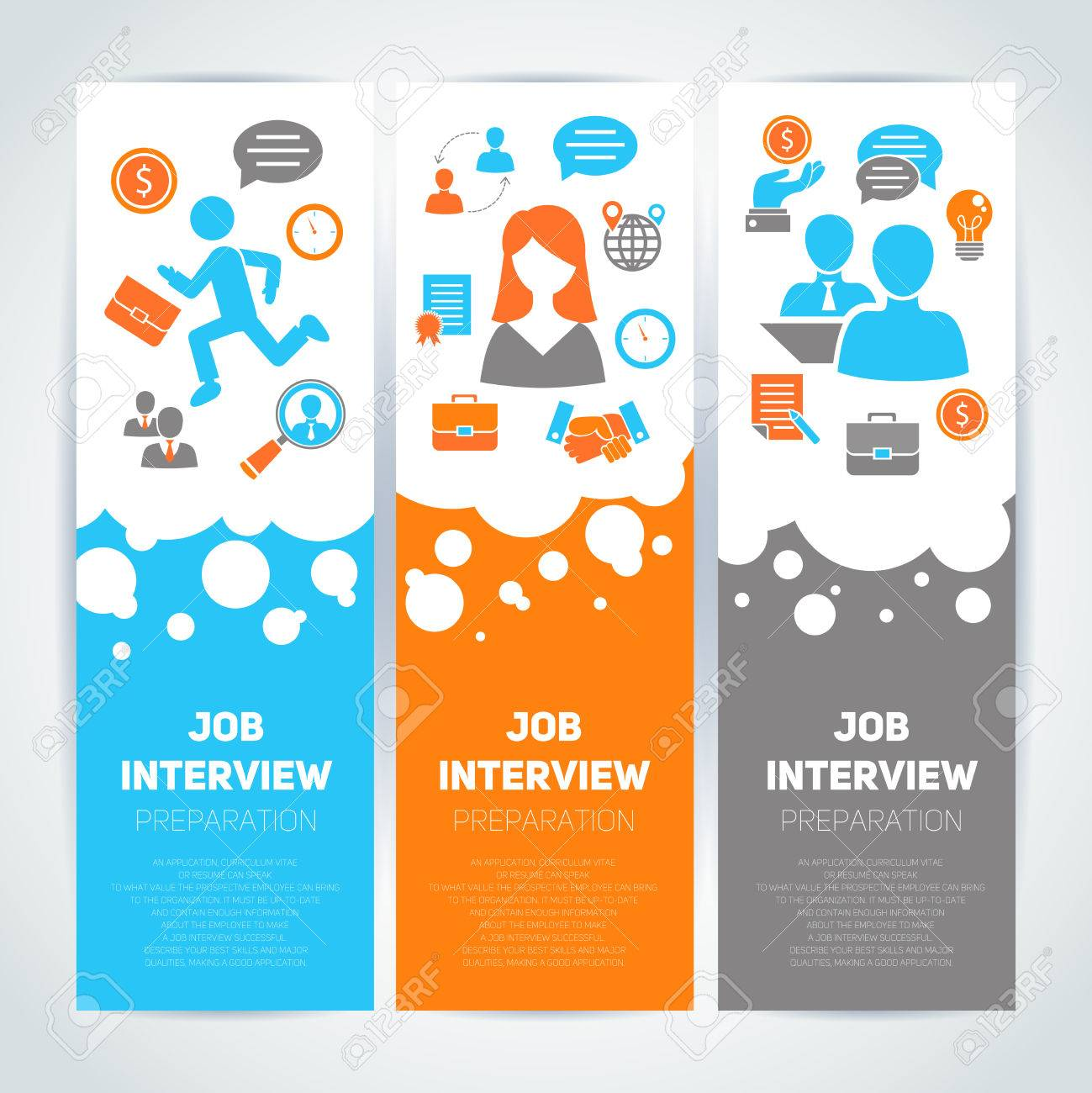 job interview preparation flat banner vertical set job interview preparation flat banner vertical set recruitment meeting cv search isolated vector illustration stock