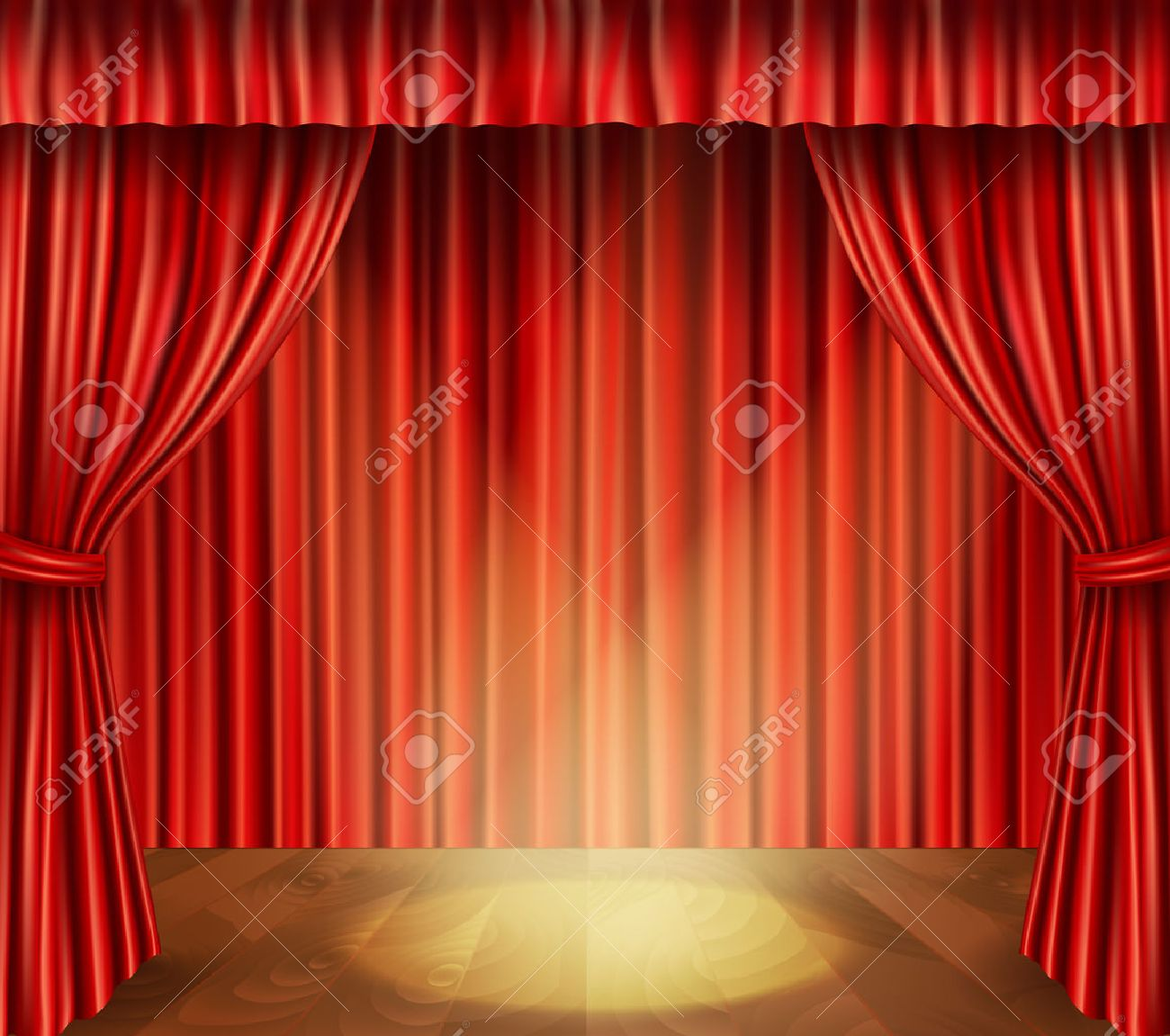 Theater Stage With Wooden Floor Red Velvet Retro Style Curtain And Spotlight Background Vector Illustration Stock