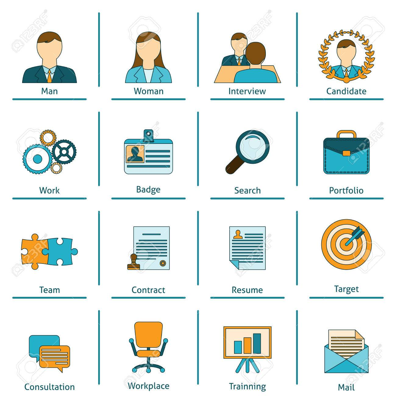 human resources personnel recruitment training and interview human resources personnel recruitment training and interview strategy flat set icons applicant portfolio isolated vector