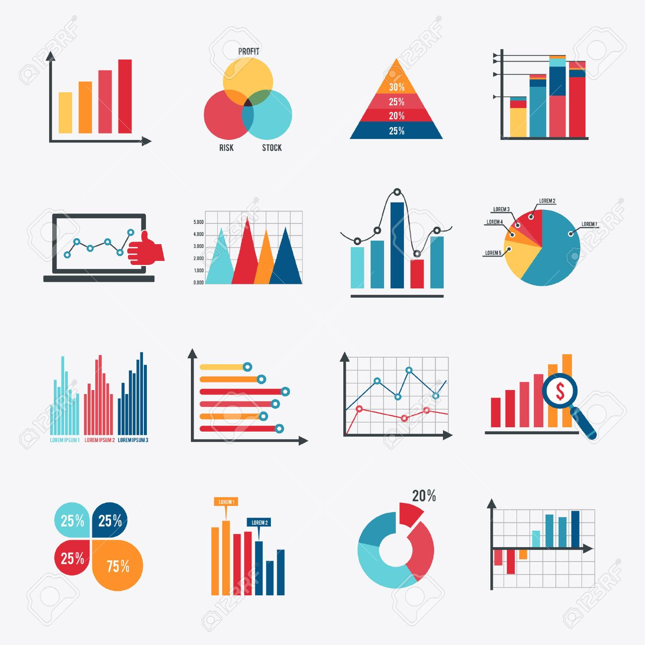 Business data market elements dot bar pie charts diagrams and graphs business data market elements dot bar pie charts diagrams and graphs flat icons set isolated vector ccuart Gallery
