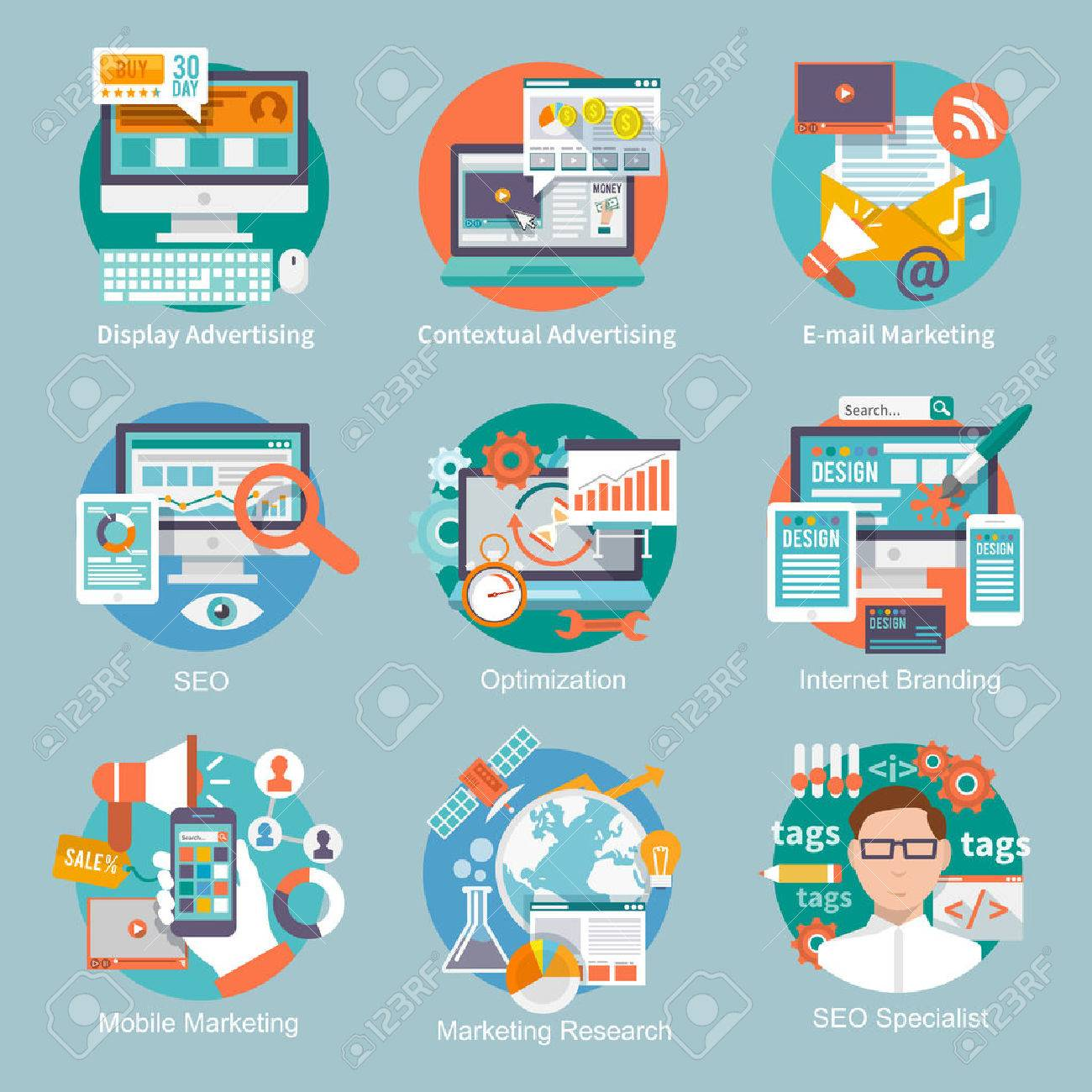 Seo internet marketing flat icon set with display contextual advertising e-mail marketing concepts isolated vector illustration - 34737792