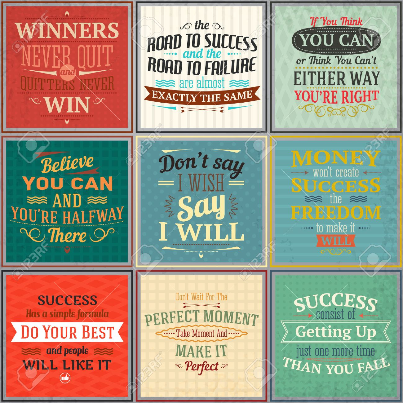 Success money freedom motivational quotes colored emblems set isolated vector illustration - 34737812