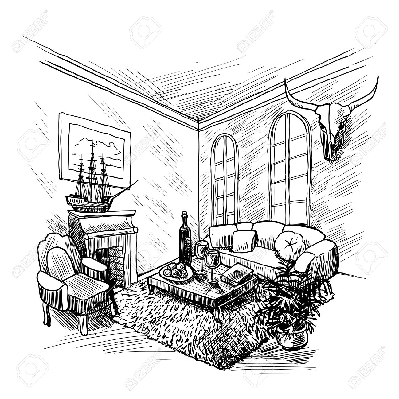 room interior sketch background with fireplace couch and table