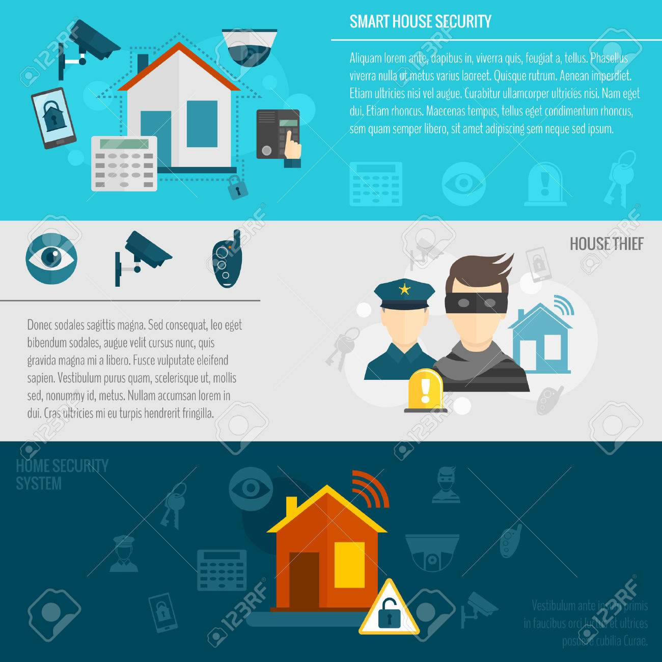 Home Security Flat Banner Set With Smart House Thief Guard Alarm System  Isolated Vector Illustration Stock