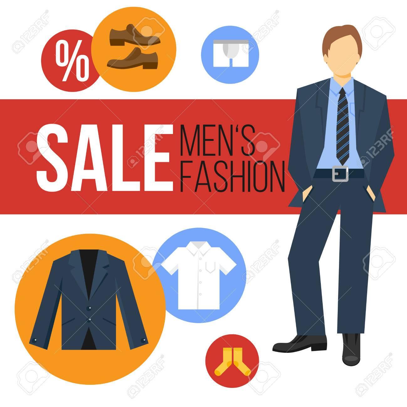 937112dd2 Moda Ropa de hombres venta concepto con los iconos de la ropa y el hombre  de negocios ilustración vectorial