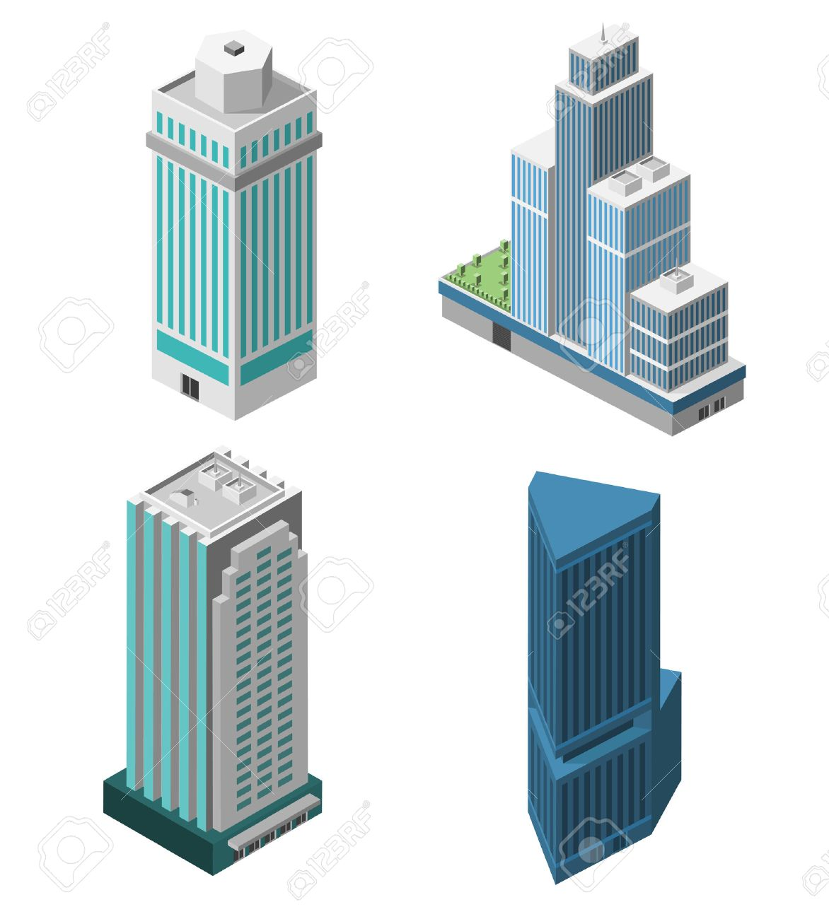 Skyscrapers 3d isometric office buildings business apartment set isolated vector illustration - 34738599