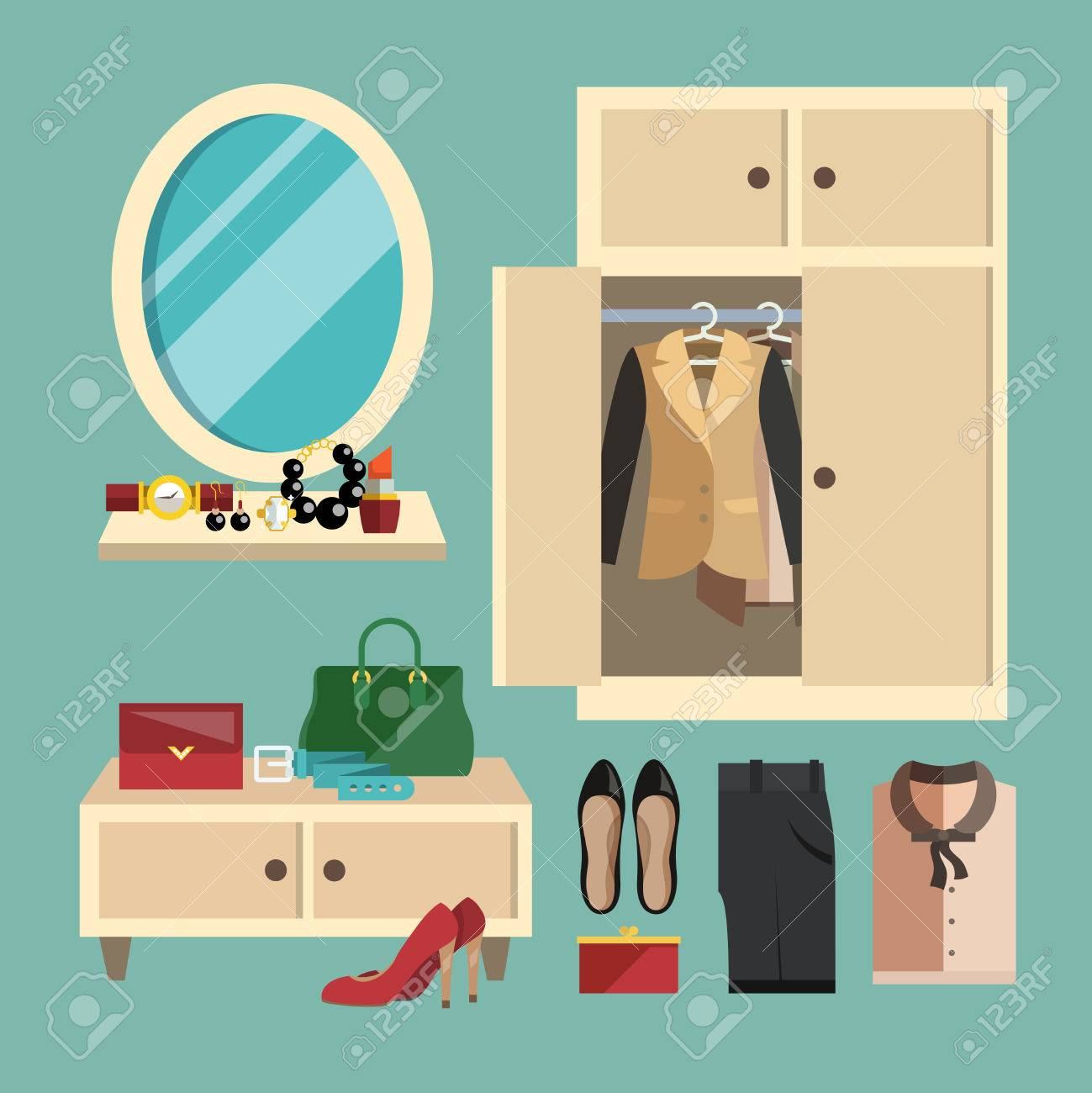 4b9230623c7fb Business woman clothes shoes and accessories decorative icons set in flat  foyer vector illustration Stock Vector