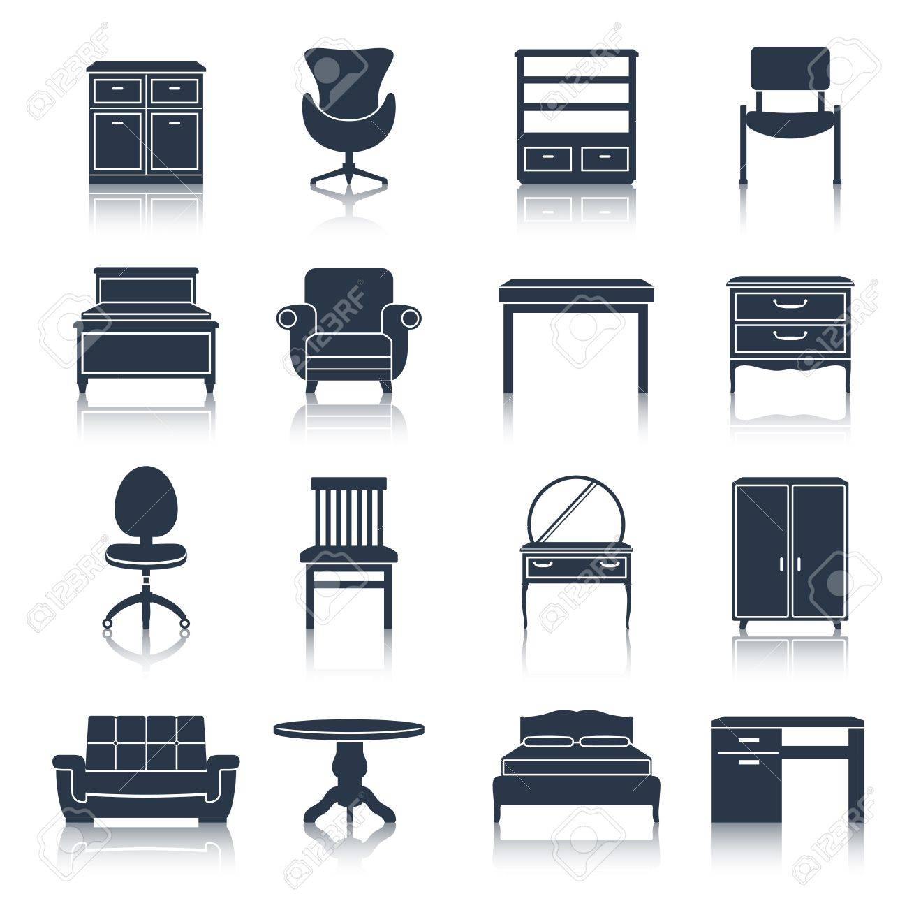furniture icons black set with bed sideboard chair office table isolated vector illustration stock vector brilliant office table top stock photos images