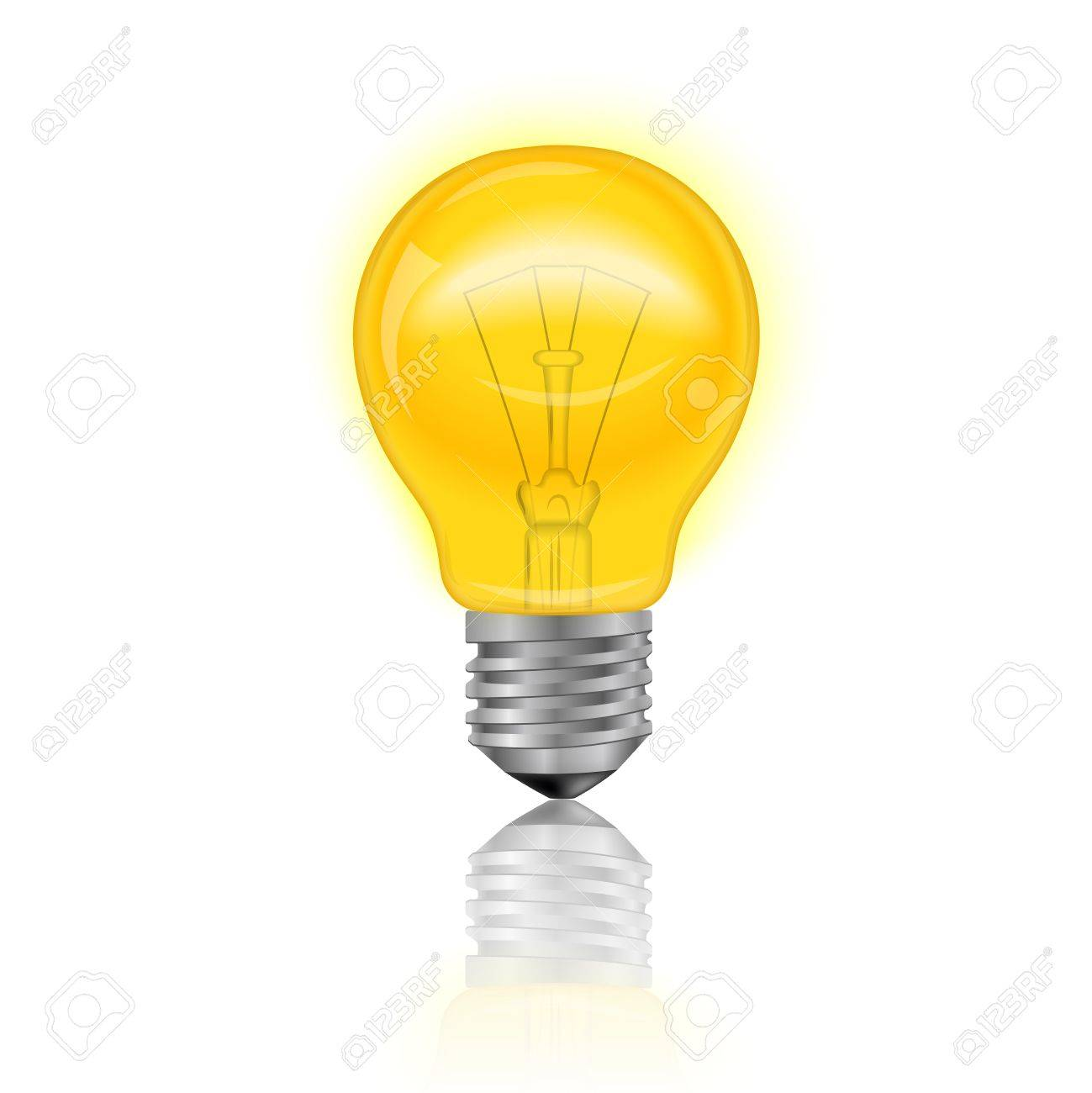 Good Illuminated Electric Light Bulb Realistic Isolated On White Background  Vector Illustration Stock Vector   35431651 Good Ideas
