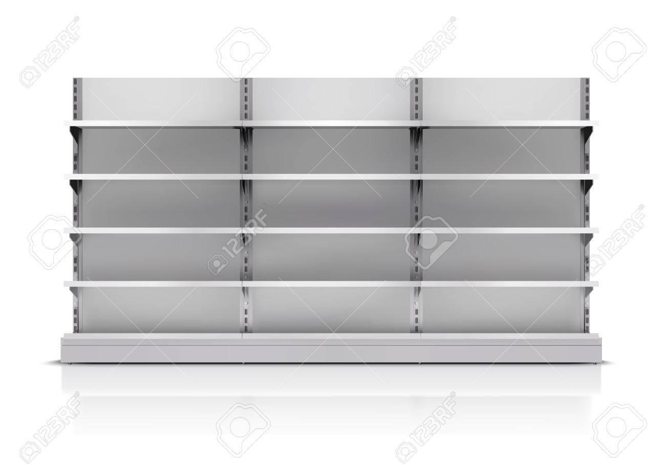 Realistic 3d empty supermarket shelf isolated on white background vector illustration - 35431712