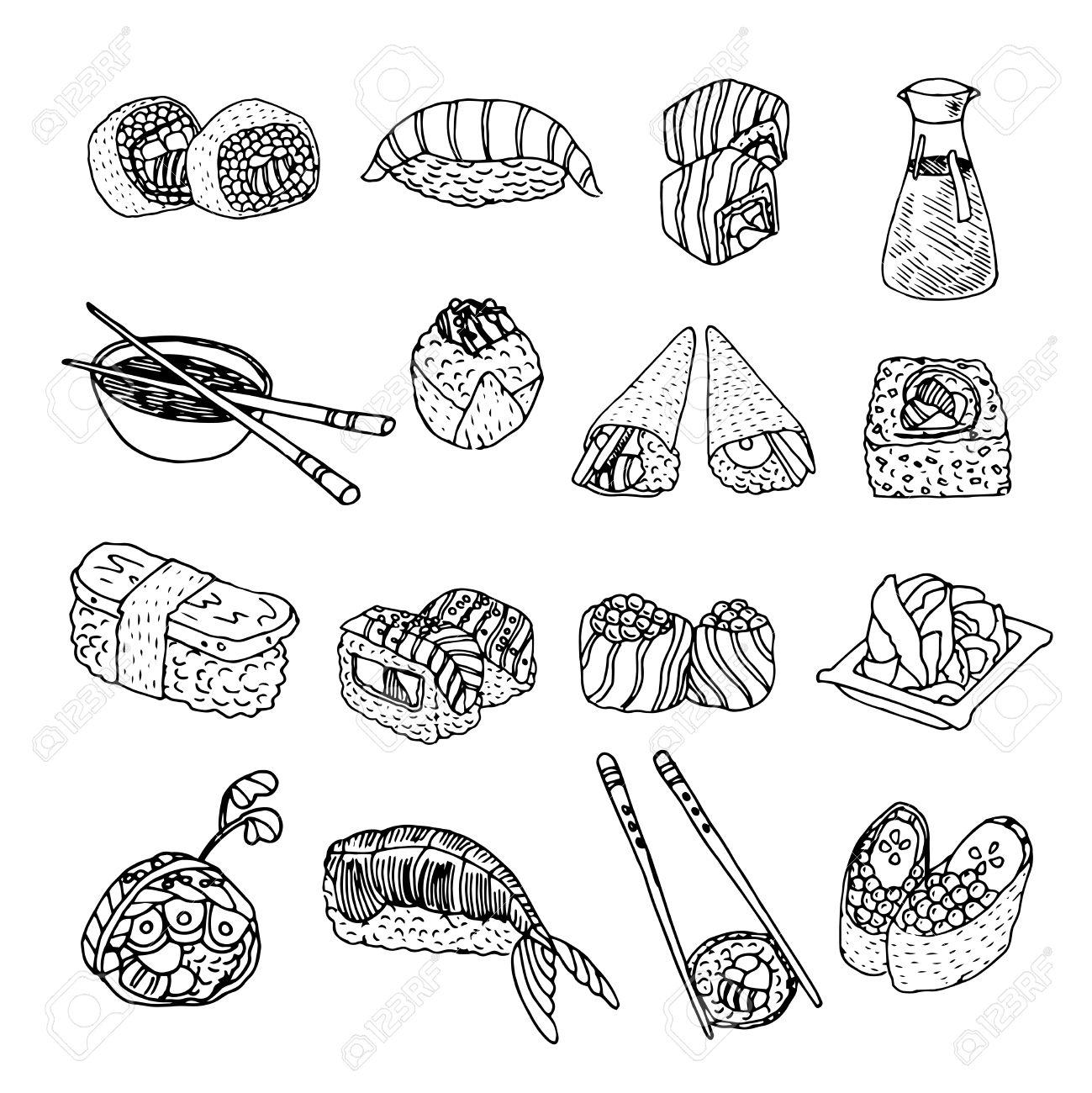 Vettoriale - Pesce Asia Menù Cucina Di Mare E Piatti Di Frutti Di ...