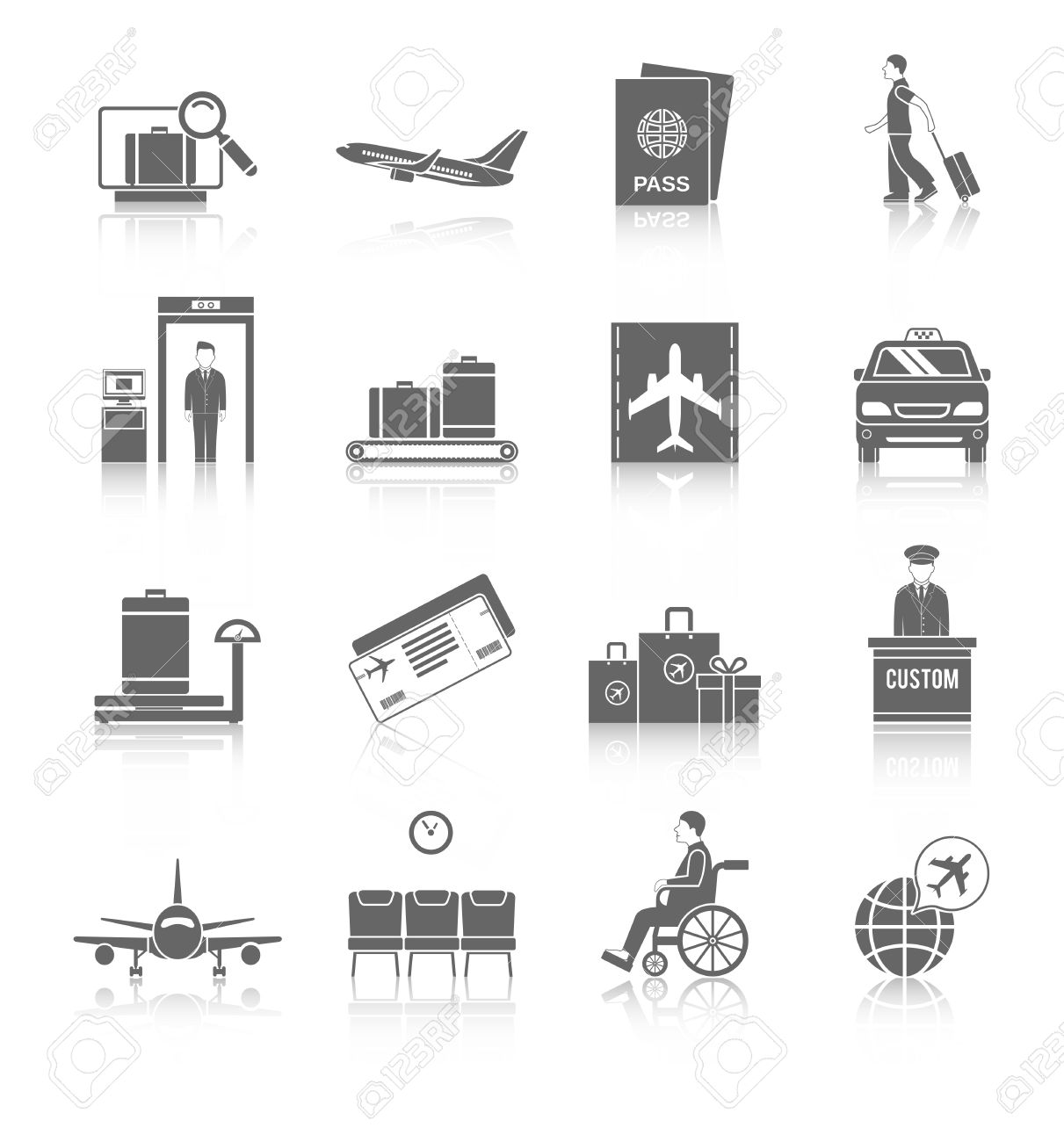 Airport Flight Terminal Passenger Security Icons Black Set Isolated Vector Illustration Stock