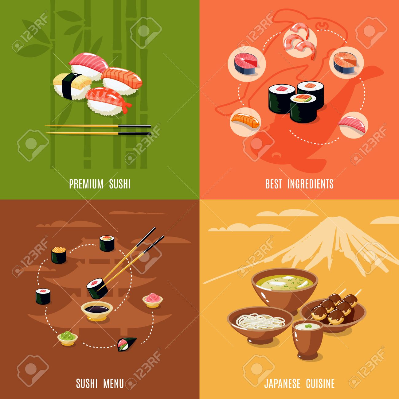 Asian food design concept with premium sushi best ingredients menu japanese  cuisine isolated vector illustration Stock