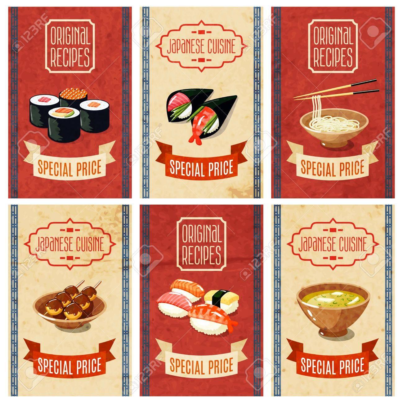 Asian Comida Original Recetas De La Cocina Japonesa Precio Especial Banners Set Aislado Ilustración Vectorial