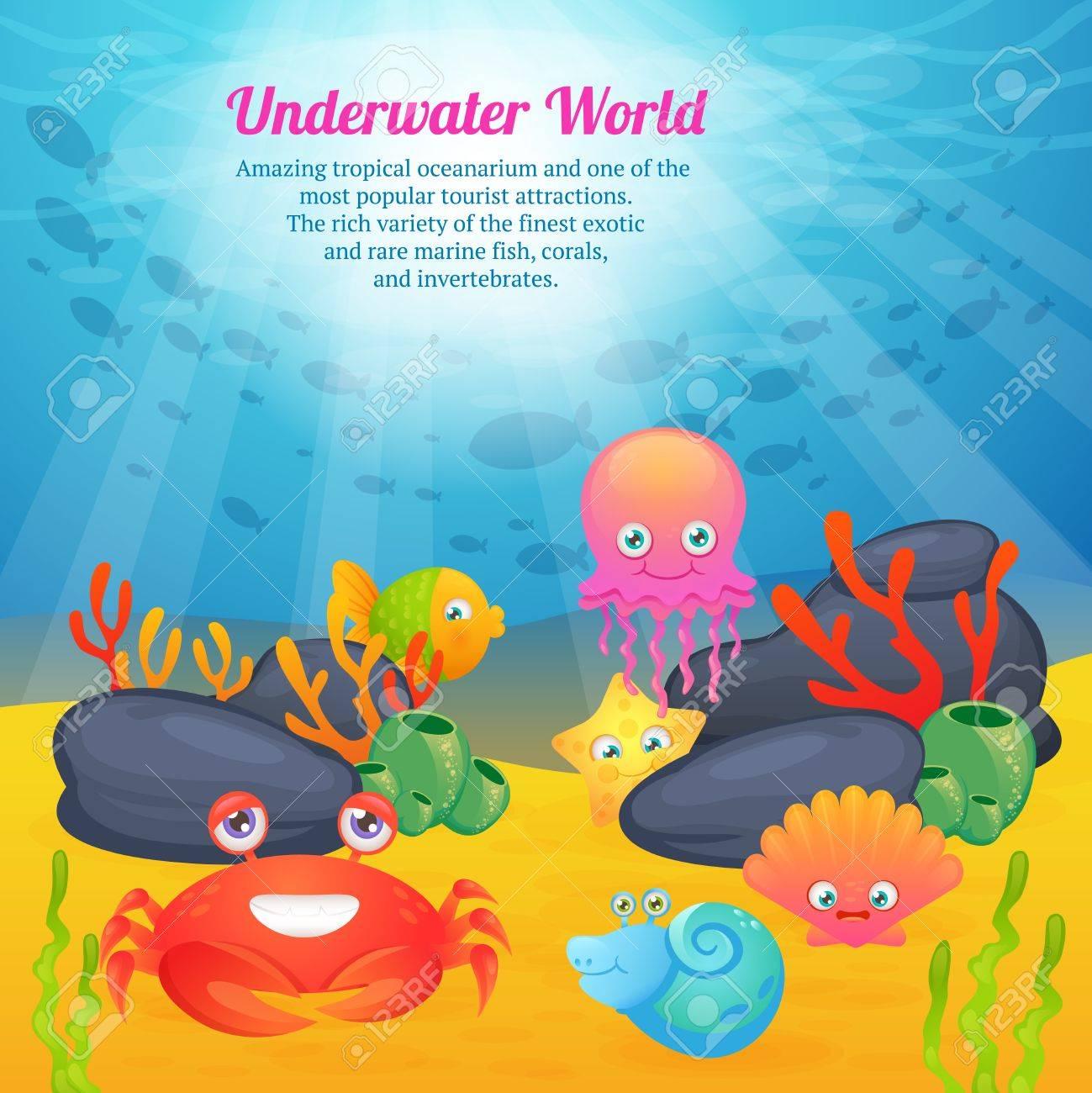 エキゾチックな水中の世界熱帯海洋水族館漫画クリーチャーかわいい