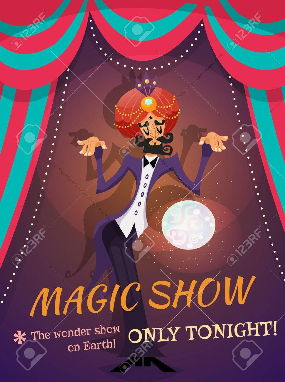 Bien-aimé Affiche De Cirque Avec Sphère Magicien Et Spectacle De Magie Texte  LS82