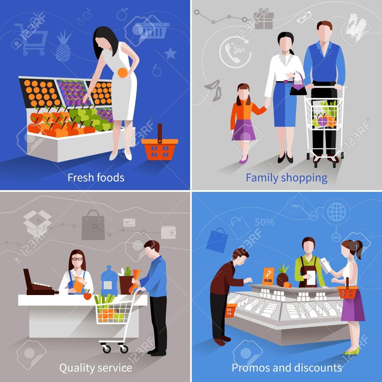 La gente en el supermercado concepto de diseño establecidos con promos de servicios de calidad comercial de frutas frescas familia y descuentos iconos planos ilustración vectorial aislado Foto de archivo - 35434452