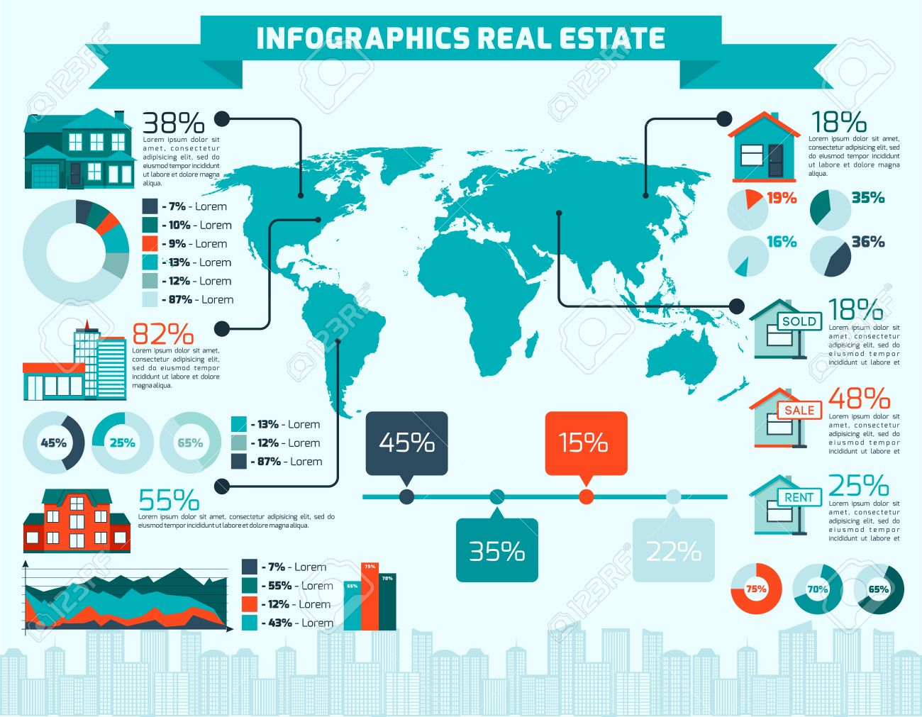 Real estate apartment sale and rent infographics with world map..