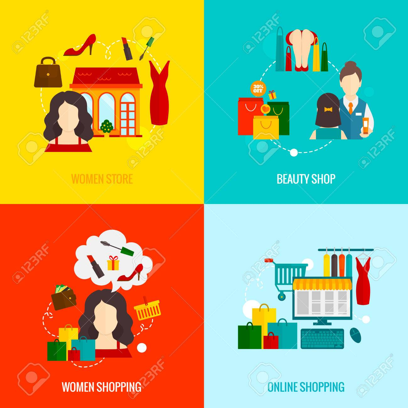 Woman online shopping design concepts set with beauty store flat