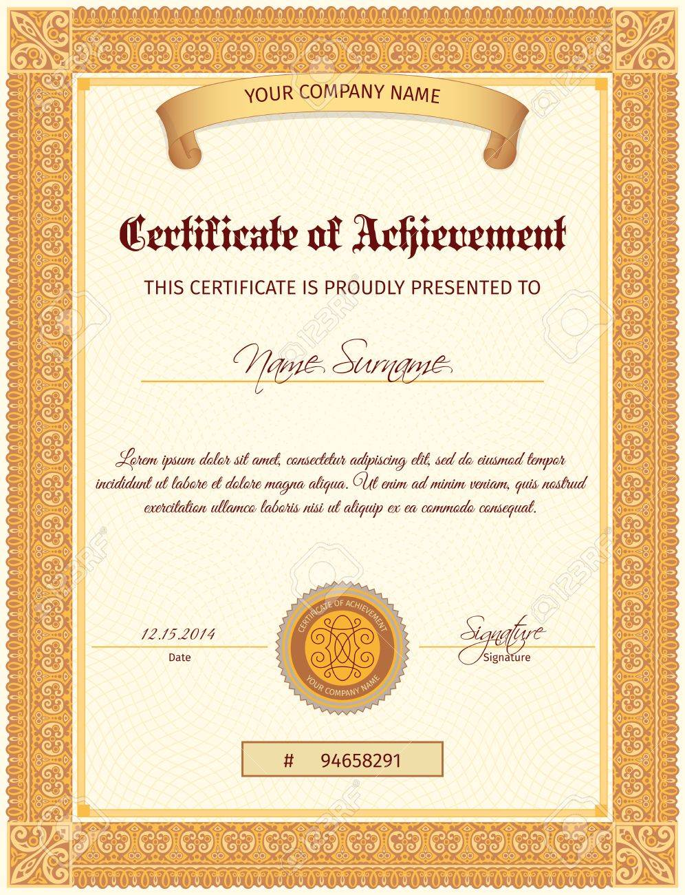 Certificate Document Of Achievement Vertical Template With Seal