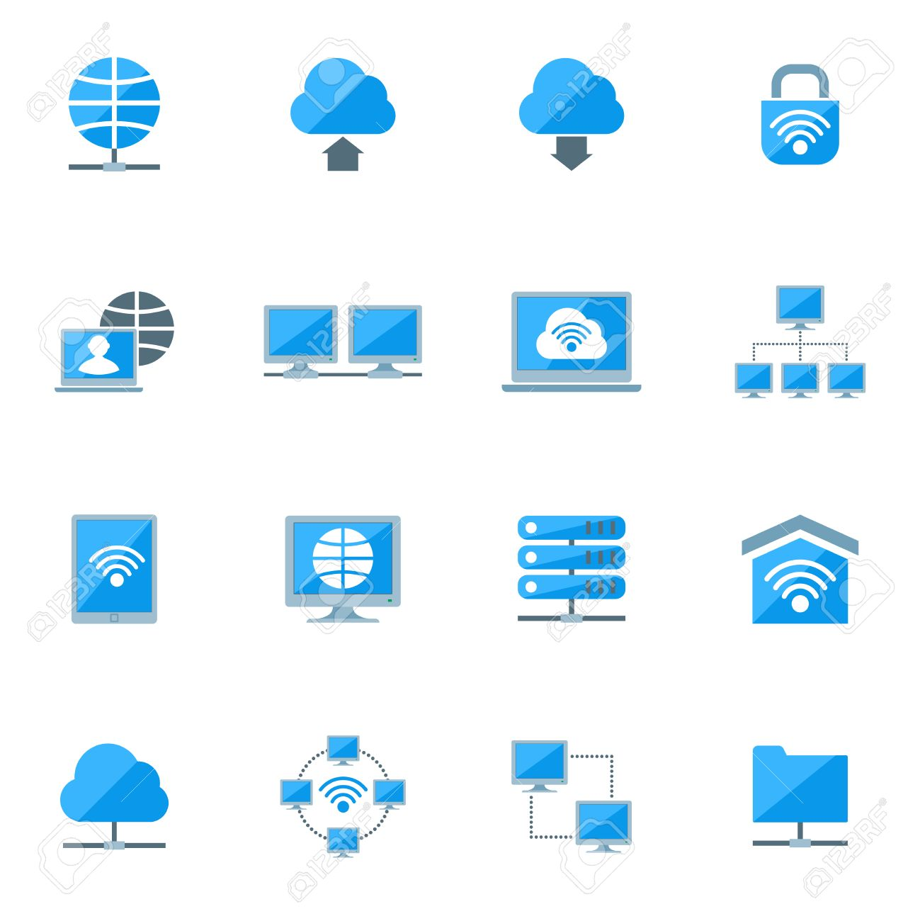 Network database configuration cloud server security icons set