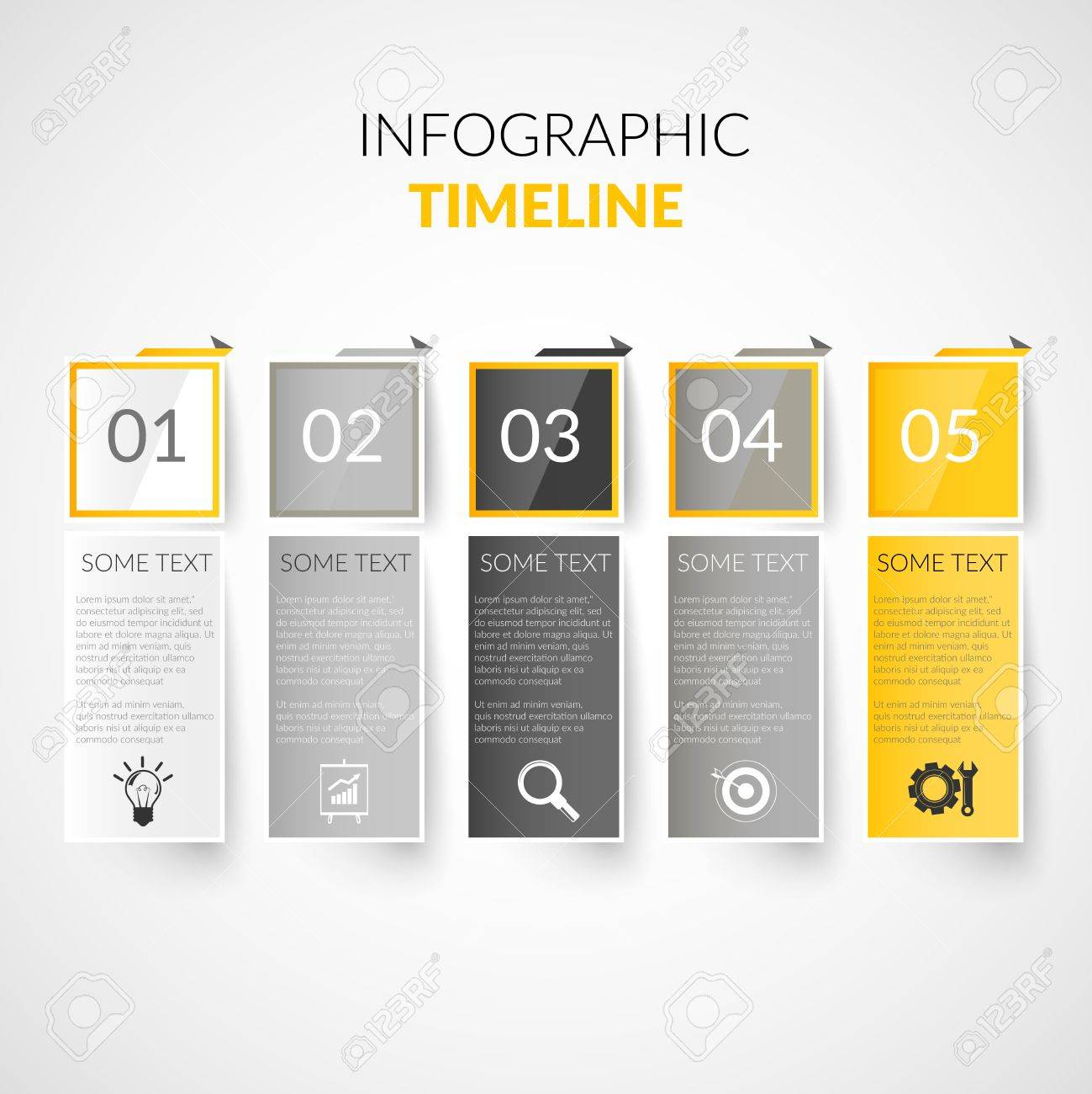 Abstract Paper Timeline Infographics Design Template With Bookmarks ...