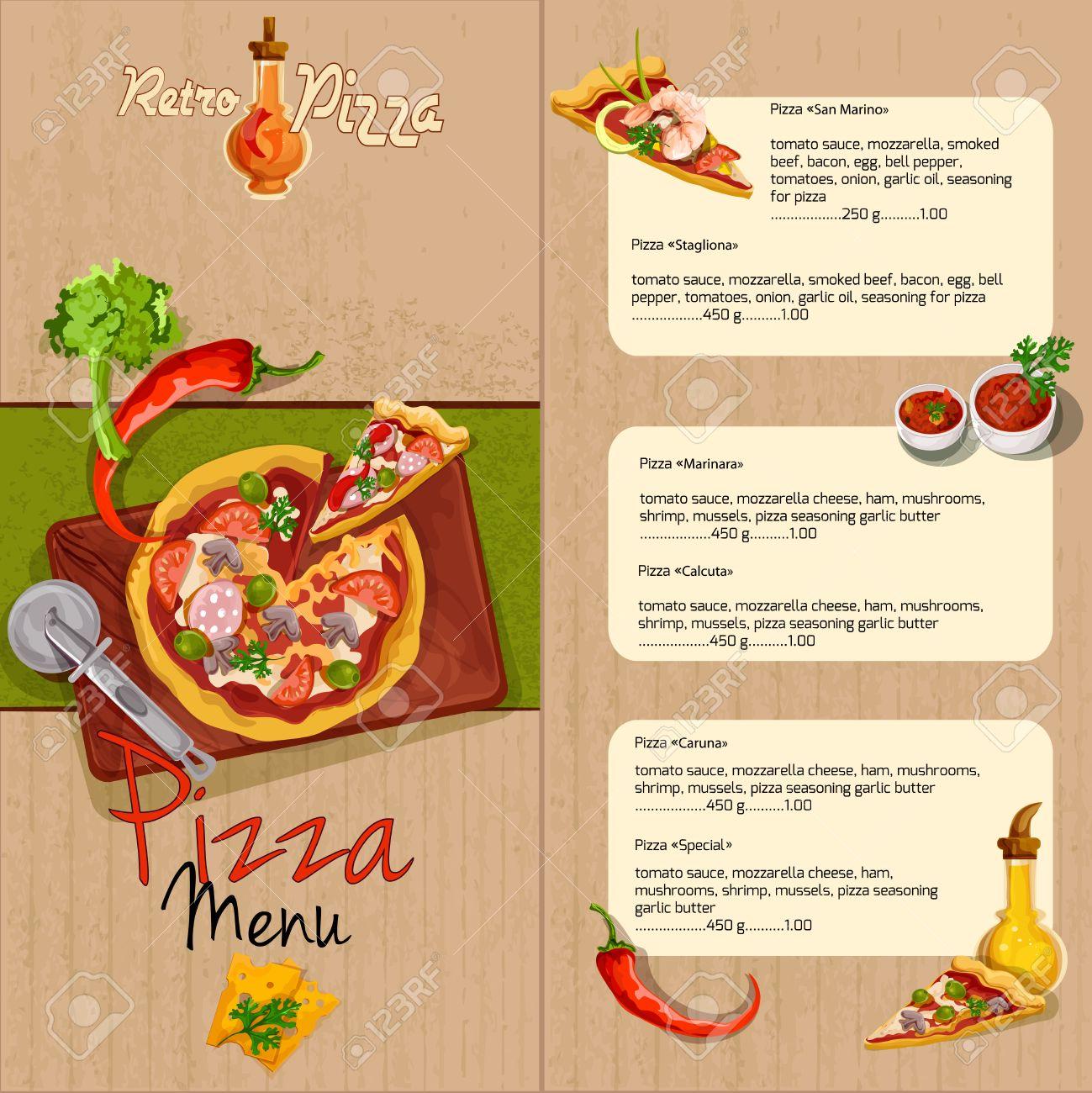 Plantilla Pizzeria Menú Del Restaurante De Pizza Con Aceite De ...