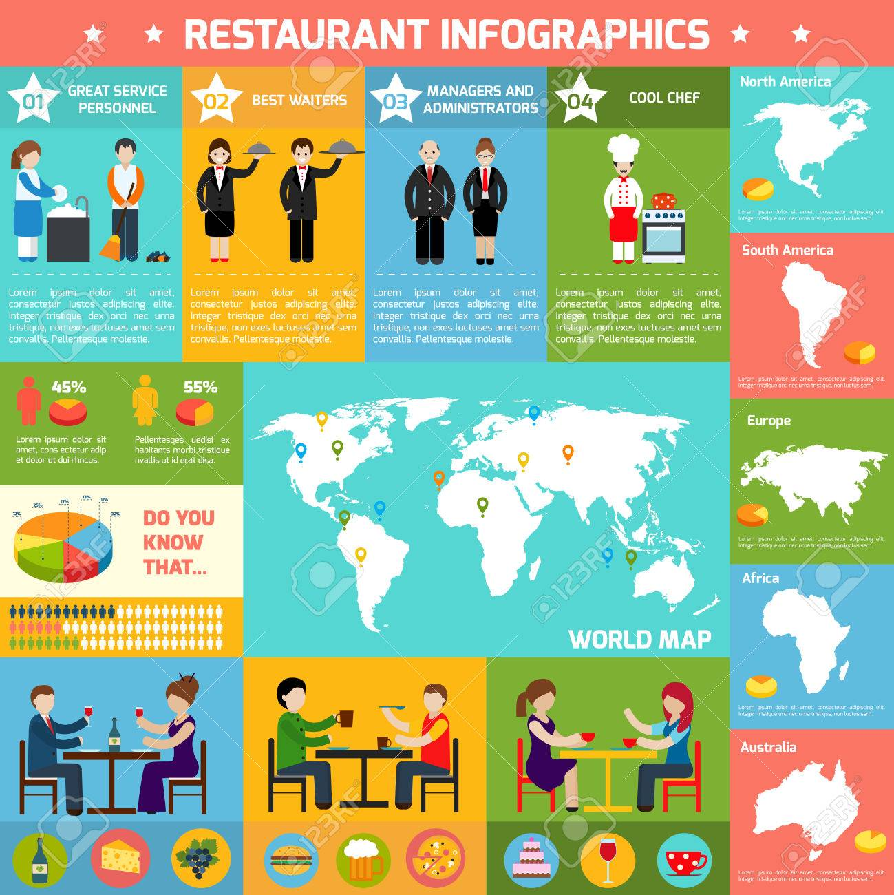 Restaurant infographic set with employees charts and world map restaurant infographic set with employees charts and world map in the middle vector illustration stock vector gumiabroncs Gallery