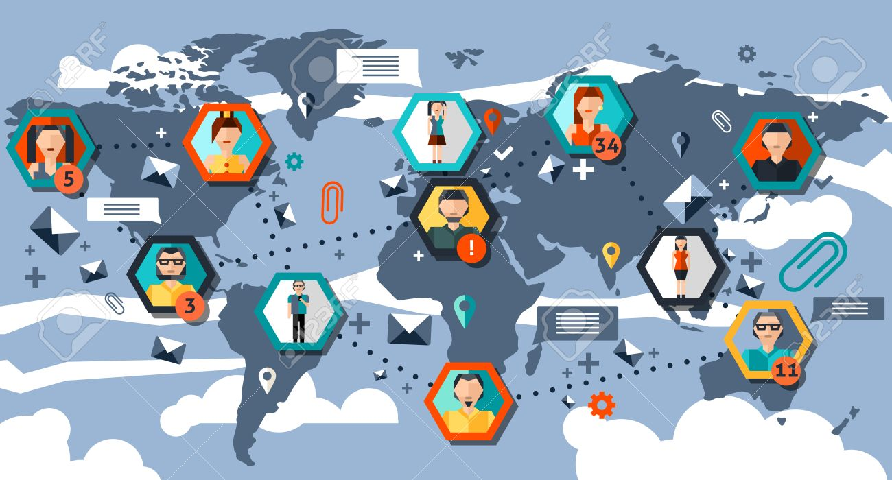 Social network infographics with hexagon people avatars and world social network infographics with hexagon people avatars and world map vector illustration stock vector 35957970 gumiabroncs Gallery